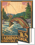 The Adirondacks - Long Lake, New York State - Fly Fishing Wood Print by  Lantern Press