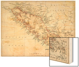 Map of Vancouver Island, British Columbia, Canada, 1870s Wood Print