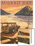 Morro Bay, CA - Woody on Beach Wood Print by  Lantern Press