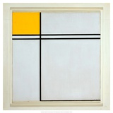 Composition with Yellow and Double Line, 1932 Art by Piet Mondrian
