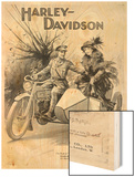 An Advertisement for Harley- Davidson Showing a Soldier Taking His Lady Friend for a Ride Art on Wood