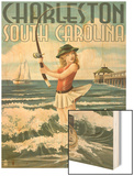 Charleston, South Carolina - Pinup Girl Surf Fishing Wood Print by  Lantern Press