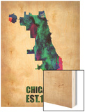 Chicago Watercolor Map Wood Print by  NaxArt