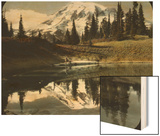 Mount Rainier and One of the Reflection Lakes, 1917 Wood Print by Ashael Curtis