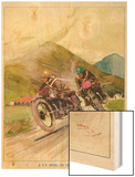 Two Competitors in the Tourist Trophy Race Fight It out Amid the Hills of the Isle of Man Wood Print