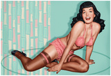 Bettie Page Aquamarine Pin-Up Prints