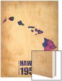 Hawaii Watercolor Map Wood Print by  NaxArt