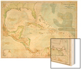 Chart of the West Indies Sea Depths and Land Elevations Wood Print