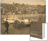 Earl Cooper and Eddie Hearne Driving Racing Cars, Tacoma Speedway (July 4, 1918) Wood Print by Marvin Boland