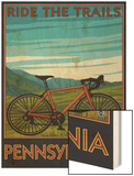 Pennsylvania - Mountain Bike Scene Wood Print by  Lantern Press