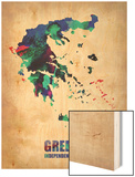 Greece Watercolor Poster Wood Print by  NaxArt