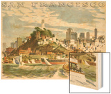 Coit Tower and North Beach. San Francisco Wood Print