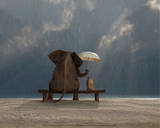 Elephant and Dog Sit Under the Rain Print by Mike Kiev