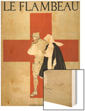 Red Cross Nurse Assists a Bandaged Soldier Wood Print by Armand Rapeno