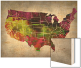 Usa Watercolor Map 4 Prints