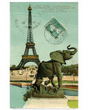 Postcard of Eiffel Tower and Elephant Statue at Palais du Trocadero, 1914 Art