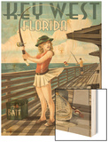 Key West, Florida - Fishing Pinup Girl Wood Print by  Lantern Press