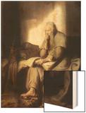 Saint Paul in Prison Wood Print by  Rembrandt van Rijn
