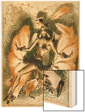 Josephine Baker Dancer in an Elaborate and Revealing Costume Wood Print by Armand Vallee
