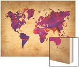 World Watercolor Map 5 Posters by  NaxArt