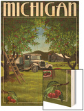 Michigan - Cherry Orchard Harvest Wood Print by  Lantern Press