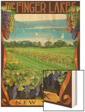 The Finger Lakes, New York - Vineyard Scene Wood Print by  Lantern Press