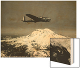 "B-17 ""Flying Fortess"" Bomber over Mt. Rainier, 1938 Posters"
