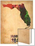 Florida Watercolor Map Wood Print by  NaxArt