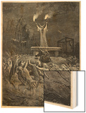Horned Devil Presides Over the Sabbat Wood Print by Emile Bayard