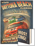 Daytona Beach, Florida - Racecar Scene Wood Print by  Lantern Press