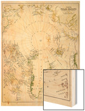 Map of the Arctic Circle with Details of Explorations Wood Print