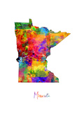 Minnesota Map Photographic Print by Michael Tompsett