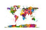 Map of the World Map Watercolor Fotografisk trykk av Michael Tompsett