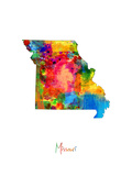 Missouri Map Prints by Michael Tompsett