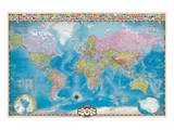 Map of the World with Flags Stampe