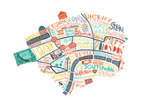 London Map Giclee Print by Benoit Cesari