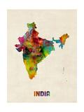 India Watercolor Map Reprodukcja zdjęcia autor Michael Tompsett