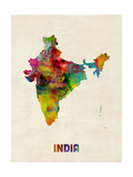 India Watercolor Map Print by Michael Tompsett