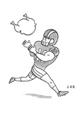 A Football player poises to catch a Turkey. - New Yorker Cartoon Premium Giclee Print by Jason Adam Katzenstein