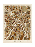 Moscow City Street Map Photographic Print by Michael Tompsett