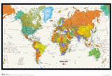 World Map Physical And Political Poster Plakater