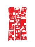 Stacking Buses Giclee Print by  biroRobot
