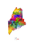 Maine Map Photographic Print by Michael Tompsett