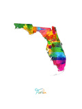 Florida Map Photographic Print by Michael Tompsett