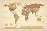 Political Map of the World Map Art by Michael Tompsett