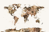 Map of the World Map Sepia Watercolor Photographic Print by Michael Tompsett