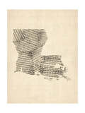 Michael Tompsett - Old Sheet Music Map of Louisiana - Fotografik Baskı