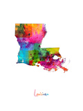 Louisiana Map Photographic Print by Michael Tompsett