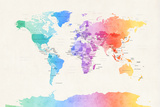 Watercolour Political Map of the World Fotografisk trykk av Michael Tompsett