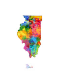 Illinois Map Prints by Michael Tompsett